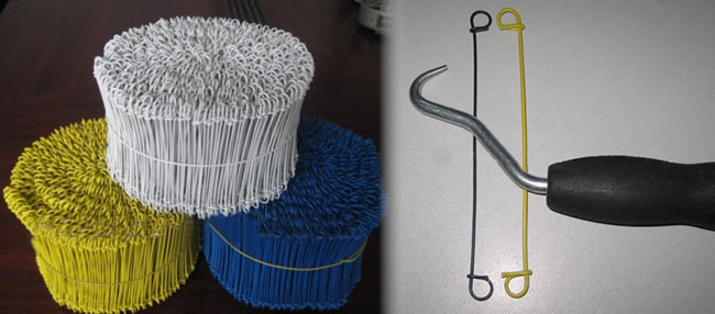 Baling Wire Tools : Double looped tie wire for bag binding with twisting tools